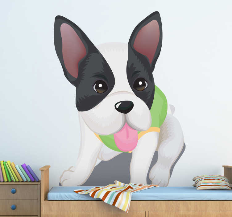 TenVinilo. Vinilo infantil perro gracioso. Pegatina de un lindo cachorro vestido con un traje verde y sentado sacando la lengua fuera.