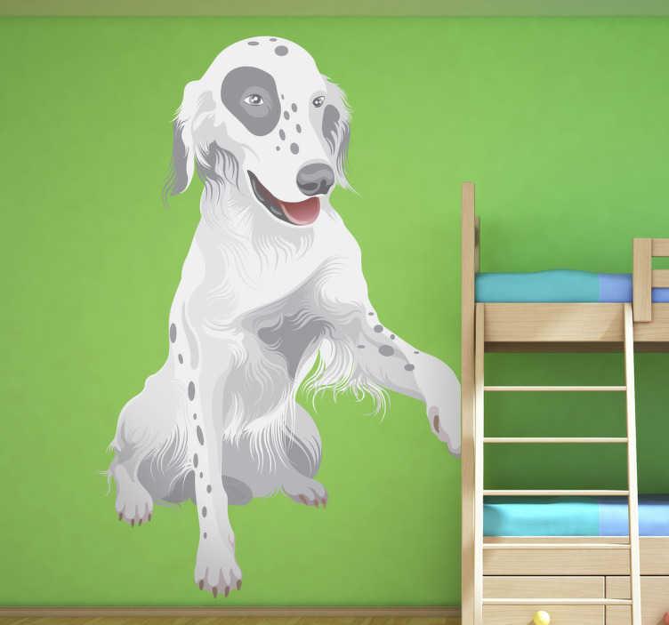 TENSTICKERS. 子供の足犬の壁のステッカー. 子供の壁のステッカー-動物-握手のためのその足を上げるの愛らしいと愛らしいイラスト。