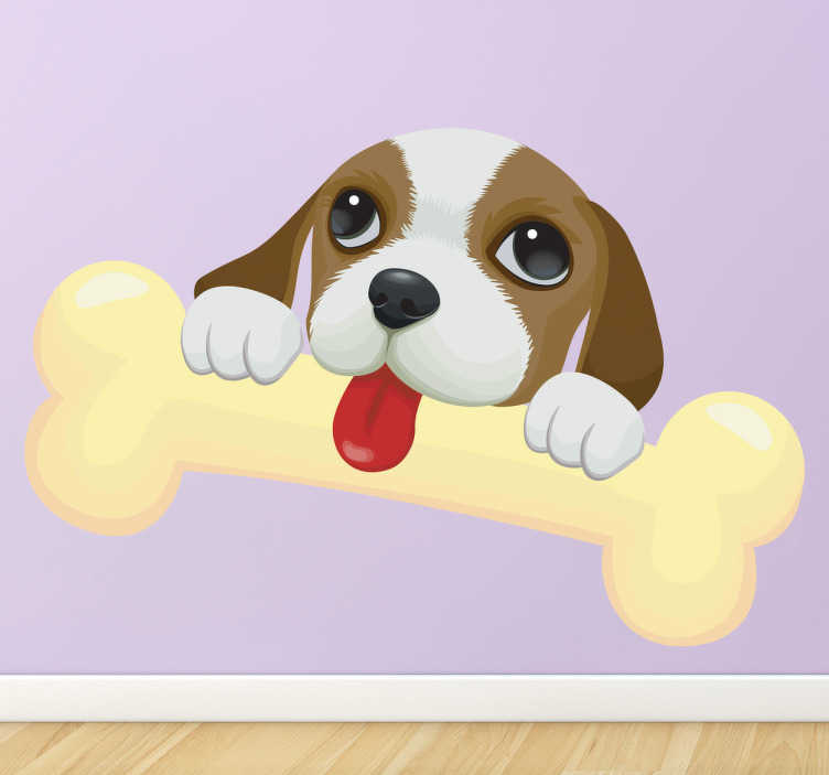 TenStickers. Kids Super Bone Puppy Wall Sticker. Animals-Adorable and heart warming illustration of a puppy licking a bone. Great for young animal lovers.