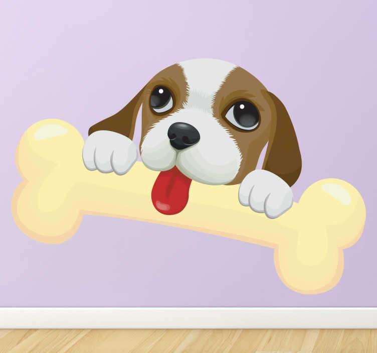 TENSTICKERS. キッズスーパーボーン子犬ウォールステッカー. 骨を舐めている子犬の動物愛らしい心温まるイラスト。若い動物愛好家に最適です。