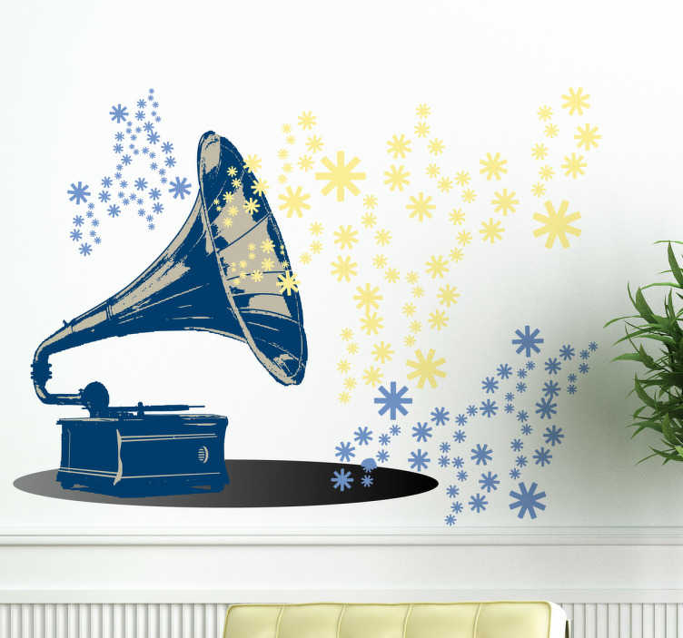 TenStickers. Sticker platenspeler Grammofoon. Muursticker van een klassieke retro platenspeler of ook wel grammofoon genoemd. Prachtige wanddecoratie voor de woning van muziekliefhebbers.