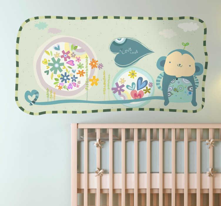 TenStickers. Naklejka obrazek z małpką. Ładna naklejka na ścianę przedstawiająca obrazek z małpką z długim ogonem. Oryginalny pomysł na dekorację pokoju Twojego dziecka.