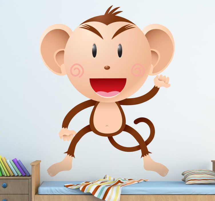 TenStickers. Sticker enfant singe salut. Stickers pour enfant illustrant un singe saluant.Super idée déco pour la chambre d'enfant et tout autre espace de jeux.