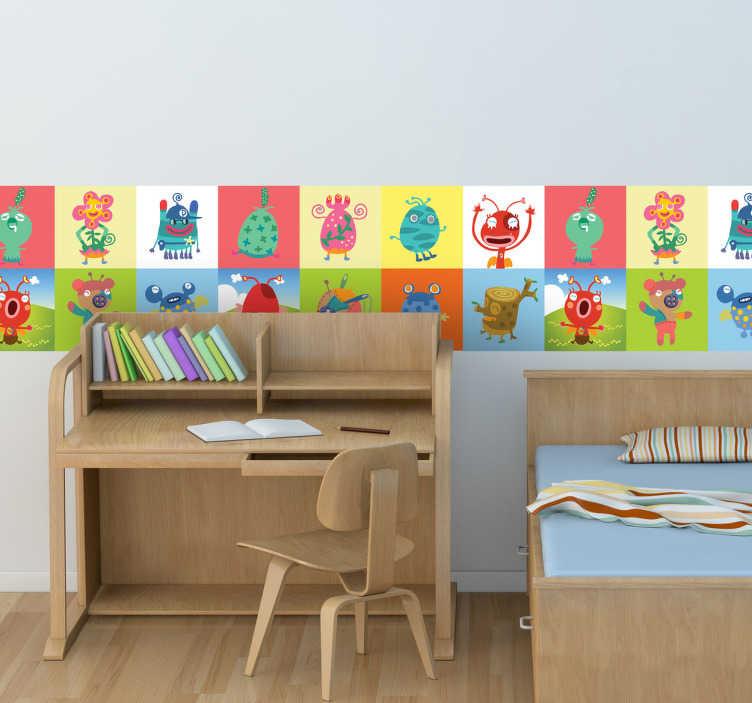TenStickers. 怪物瓷砖贴纸. 一个梦幻般的瓷砖墙贴,展示了不同的外星人和奇怪的生命!精美的怪物贴纸,为您孩子的卧室墙壁增添一些色彩。它是一个极好的设计,将招待您的孩子,并为他们的房间增添一种美味和有趣的美学!