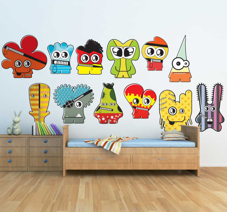 TenStickers. Naklejka dziecięca różne potworki. Śmieszna kolekcja naklejek dekoracyjnych dla dzieci, która przedstawia małe urocze potworki.*Podane wymiary dotyczą całej naklejki, tj. wszystkich potworków.