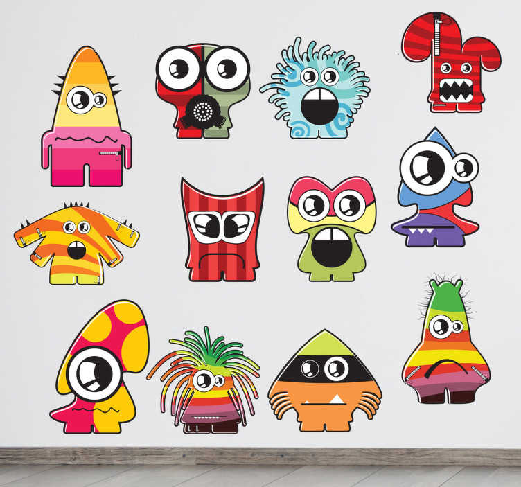 TenStickers. Monsters Wall Stickers. A collection of twelve different monsters! Great monster wall stickers to decorate your children's play area.