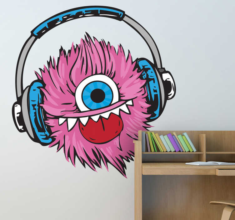 Sticker roze monster koptelefoon