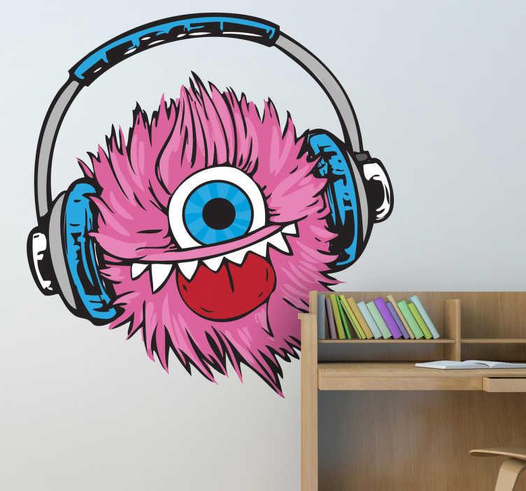 TenStickers. 핑크색 털이 공 스티커. 음악을 듣고 핑크 솜털 하나 - 괴물의 창조적 인 괴물 벽 스티커! 십대 침실 스티커는 모두 쉽게 적용 할 수 있습니다.
