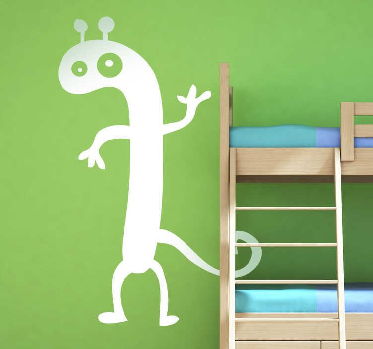 TenStickers. Alien sticker. Sticker met een gek en aparte Alien met antennes boven op zijn kop en een staart. Verander je kinder slaapkamer met deze leuke en grappige sticker!