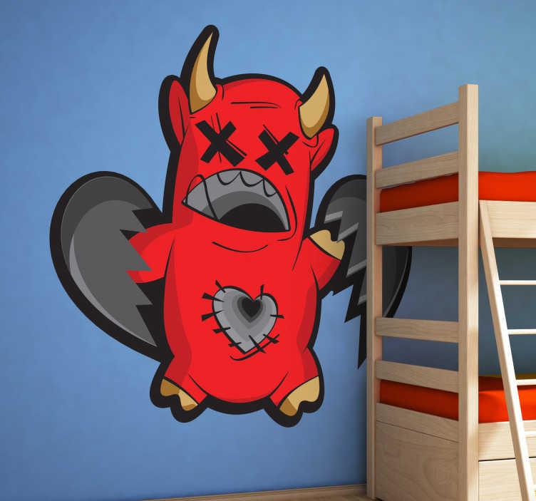 TenStickers. Duivel sticker. Deze stoere duivel sticker zal je kamer meer kleur geven! Op deze cartoon zie je een rode duivel waarvan de hart is gebroken!