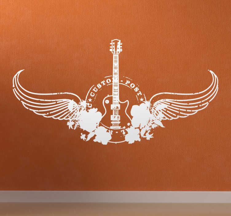 TenStickers. Sticker vleugels electrische gitaar. Een muursticker voor alle rockers onder ons! Originele wanddecoratie van een elektrische gitaar versierd met vleugels.