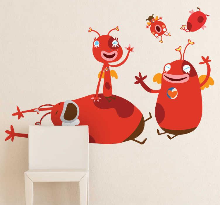 TenStickers. Stickers kinderen familie monsters. Een leuke muursticker van een familie mysterieuze wezens. Een leuk idee voor het decoreren van de speelkamer!