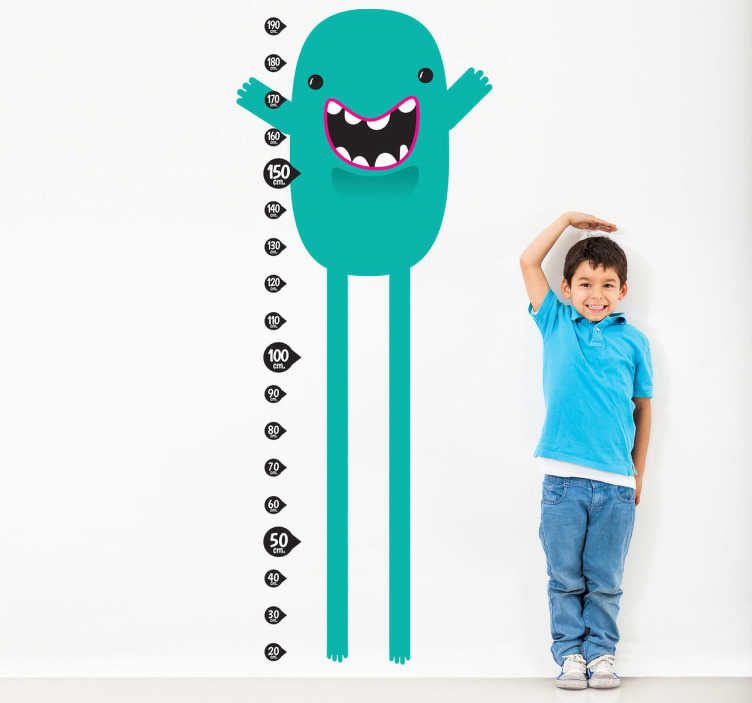 TenStickers. Teal Monster Height Chart Sticker. An original height chart design ideal for measuring your children's height! A splendid decal from our collection of teal wall stickers.