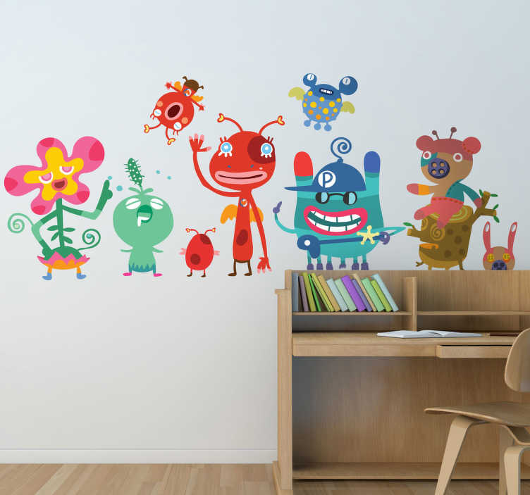 TenStickers. Friendly Monsters Kids Decal. Brilliant design from our collection of kidsmonster wall stickers!Decorate your child's play area with the friendly monsters decal.