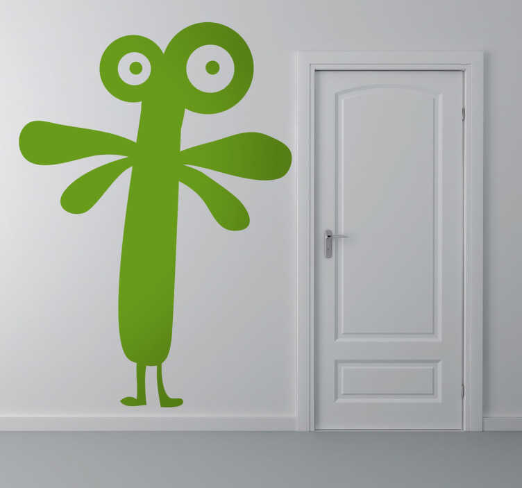 TenStickers. Monster with Wings Sticker. A fun and quirky sticker of a green, wide eyed monster with little wings.