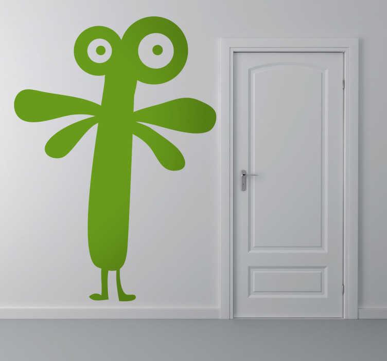 TenStickers. Alien monster sticker. Sticker met een gek en aparte Alien met grote ogen boven op zijn kop en sprieten. Verander je kinder slaapkamer met deze leuke en grappige sticker!