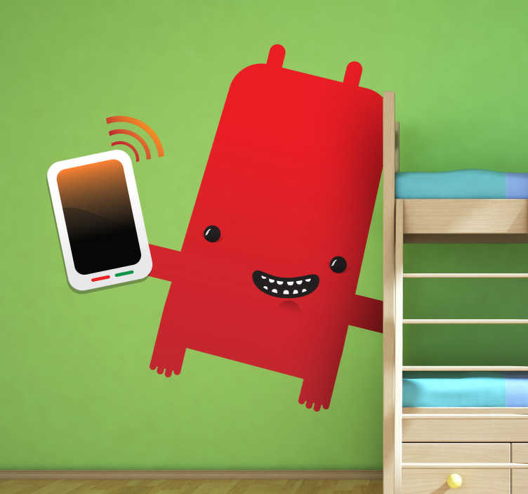 TenStickers. Naklejka dziecięca powtór z komórką. Naklejka dekoracyjna dla dzieci, która przedstawia potwora trzymającego w ręku telefon komórkowy.
