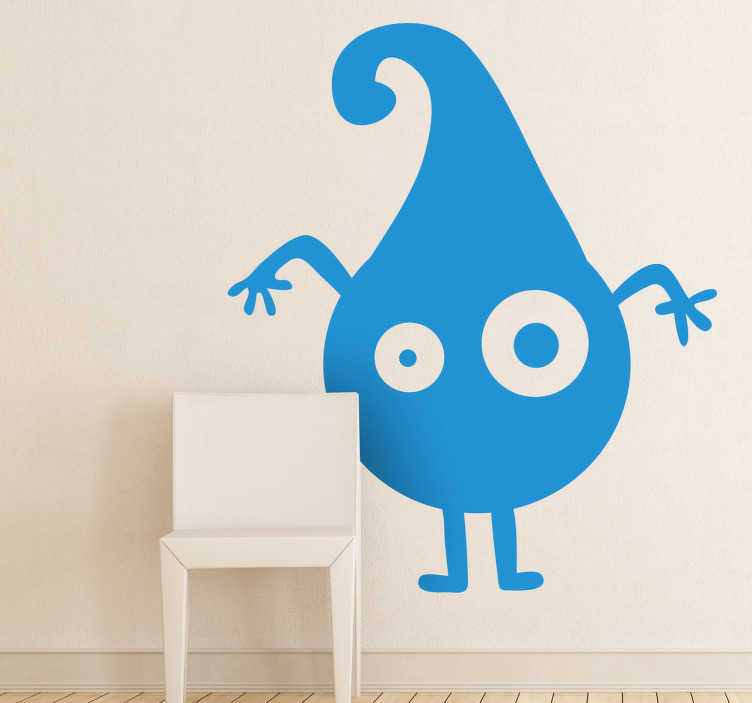 TenStickers. Monster Water Drop Decal. A monochrome wall sticker illustrating a weird water drop creature. Great monster decal to decorate your children's bedroom or play area. You can now personalise their favourite room at home with this colour and size customisable decal!