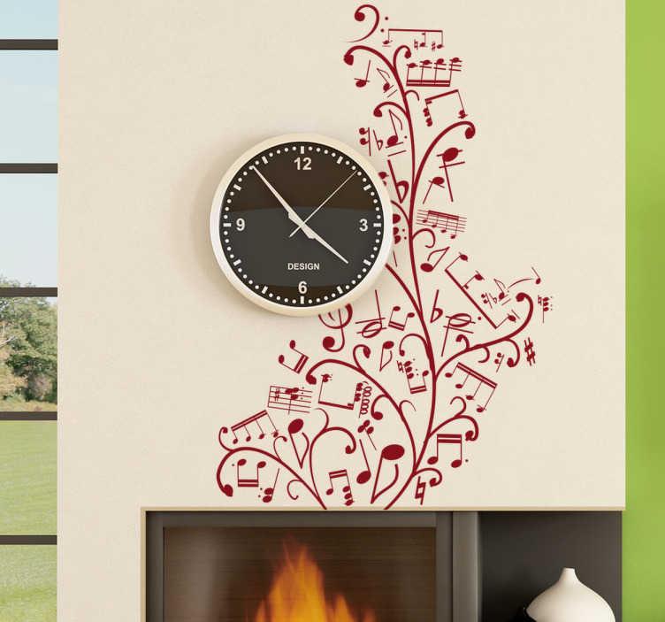 TenStickers. Sticker boom muzieknoten. Muursticker voor de slaap-of woonkamer! Met deze leuke wandsticker kan je je muren op een prachtige manier versieren met deze boom gevormd uit noten.