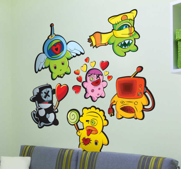 TenStickers. Friendly Monsters Decorative Decals. These wall stickers of many different creatures with joyful shapes and colours are fun in an environment with children or babies.