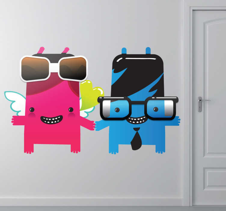 TenStickers. Monster Couple Kids Sticker. A brilliant monster decal illustrating two unidentified creatures holding hands. Great vinyl wall sticker to decorate any space at home.