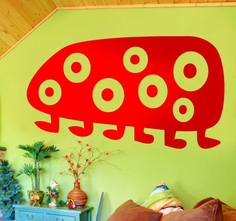 TenStickers. Wandsticker Kinderzimmer 7 äugiges Monster. Gestalten Sie das Kinderzimmer mit diesem lustigen, abstrakten Monster als Wandtattoo! 7 Augen in einem horizontalen Oberkörper und 6 Beine