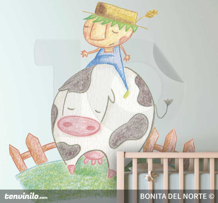 TenStickers. Sticker kinderkamer boerderij koe. Een leuke muursticker van een boer dat op de rug van zijn koe zit. Een prachtige wandsticker voor de decoratie van de kinderkamer.