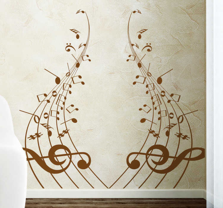 TenStickers. Musical Headboard Wall Sticker. Room Stickers - Enhance your bedroom with this musical decal.Decals ideal for decorating your home.