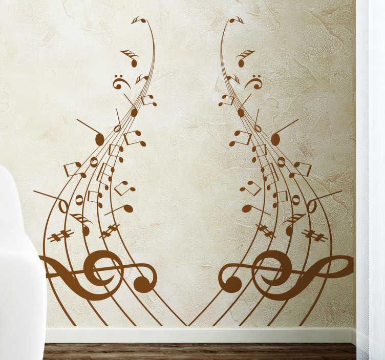 TenVinilo. Vinilo decorativo pentagramas simetricos. Vinilo decorativo de gran profundidad musical. Dale el color que más te guste a este adhesivo decorativo.