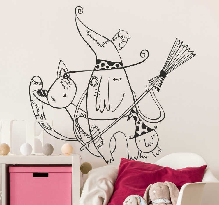 TenStickers. Kids Witch & Cat Wall Sticker. Kids Wall Stickers - Illustration by Raquel Bláquez of a witch and her pet cats. Ideal for decorating areas for children. Available in various sizes.