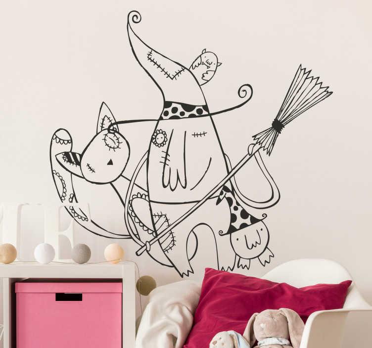 TenStickers. Adesivo cameretta mago in compagnia. Illustrazione stilizzata di uno stregone accompagnato da un gatto e da un piccolo porcellino.