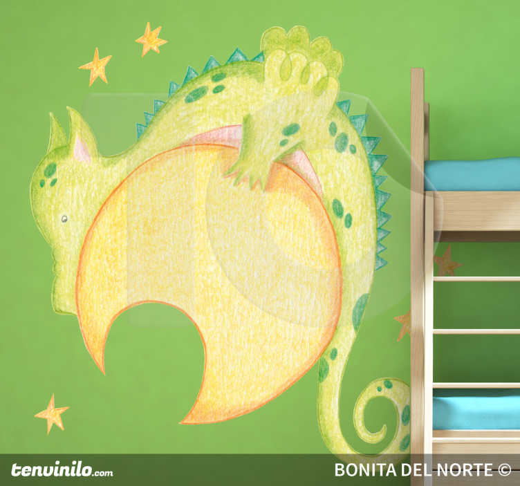 TenStickers. Kids Moon Dragon Wall Sticker. Kids Wall Stickers - Original pencil sketch illustration by Raquel Bláquez of a dragon resting on the moon surrounded by stars.