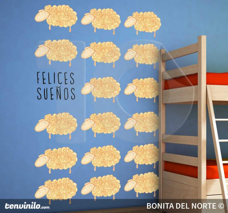 TenVinilo. Vinilo infantil felices sueños. Ilustración especial realizada por Bonita del Norte. Un adhesivo para ayudar a tus hijos a dormir.