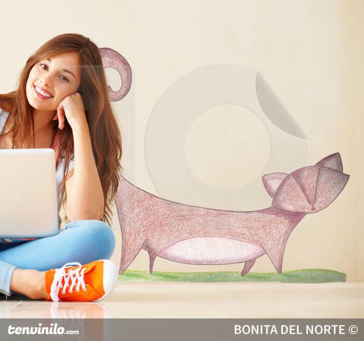 TenStickers. Sticker enfant chat rose. Sticker pour enfant illustrant un chat rose. Dessin réalisé par Raquel Blázquez.Super idée déco pour la chambre d'enfant et tout autre espace de jeux.