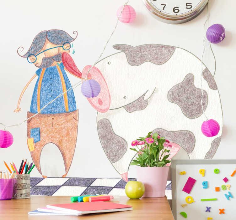TenStickers. Muursticker kind koe likt mens. Deze muursticker omtrent een vrolijke tekening van een liefdevolle koe die zijn baasje likt. Ideaal ter wanddecoratie voor kinderen.
