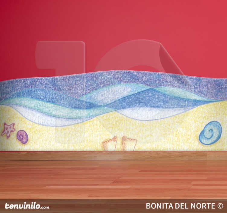 TenStickers. Wandtatto Strand Zeichnung. Dekorieren Sie Ihre Räume mit diesem Wandtattoo, dass eine Zeichnung eines Strandes mit Meer und Muscheln zeigt.