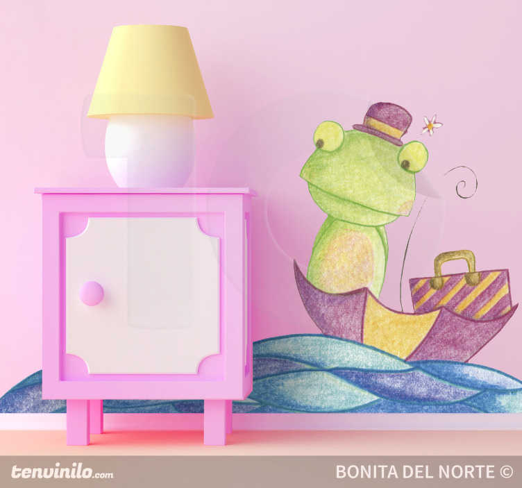 TenStickers. Frog Sailing Wall Sticker. A fairy tale wall sticker illustrating a frog sailing the sea with his umbrella. Brilliant frog decal to decorate a girl's bedroom.