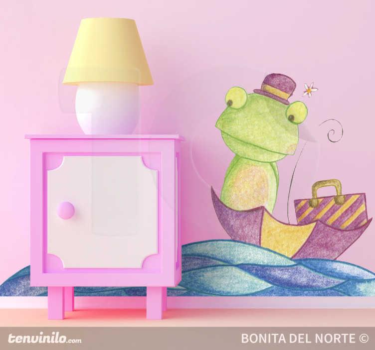 TenStickers. Frosch im Boot Zeichnung Aufkleber. Das Wandtattoo illustriert einen Frosch mit einem Hut auf dem Kopf, der mit seinem Koffer in einem Regenschirm auf dem Wasser treibt.