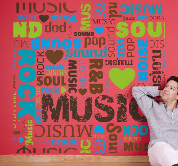 TenStickers. Vinil Decorativo Lettering Música. Vinil decorativo personalizado com várias palavras relacionadas com música em lettering e coloridas, um vinil perfeito para quem não vive sem música.