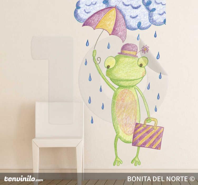 Sticker enfant personnage grenouille parapluie