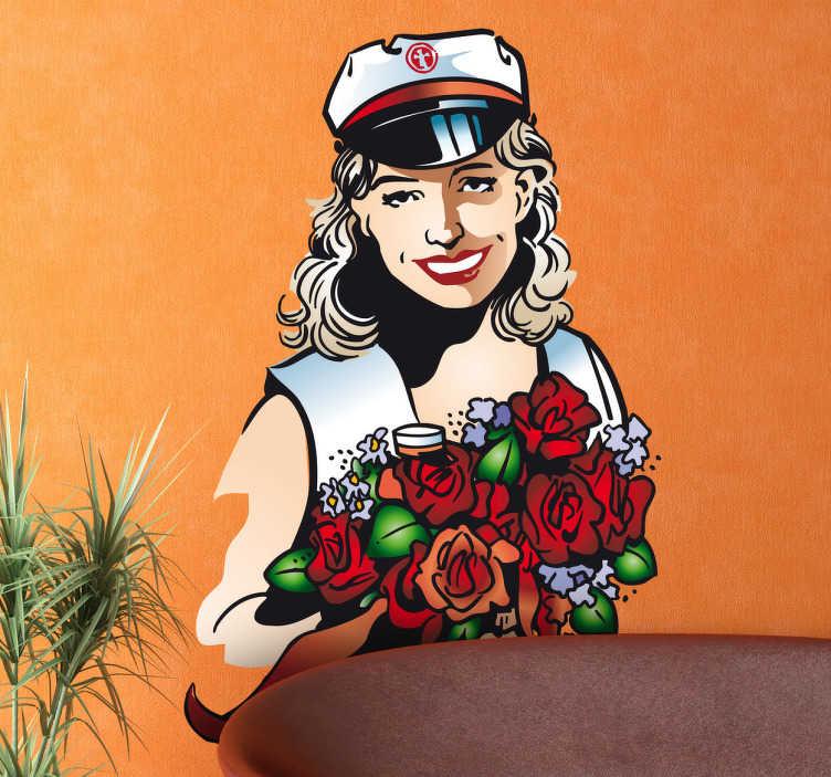 TenStickers. Naklejka dekoracyjna ślub na statku. Oryginalna naklejka dekoracyjna, która przedstawia pannę młodą w żeglarskiej czapce i z bukietem czerwonych róż.