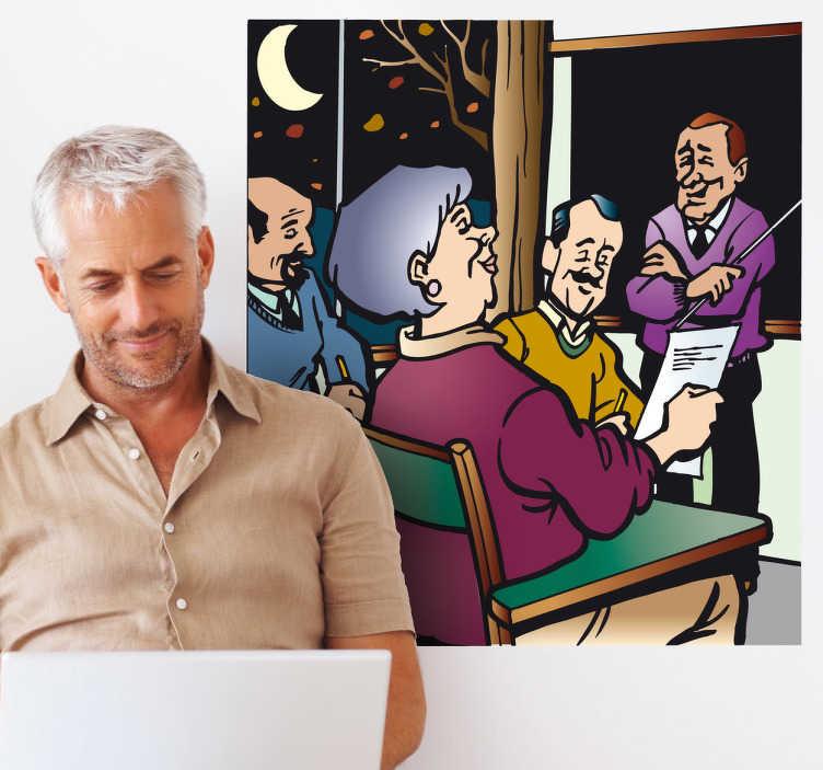 TenStickers. Naklejka szkoła dla dorosłych. Kolorowa naklejka na ścianę przedstawiająca grupę dorosłych ludzi studiujących w klasie. Nigdy nie jest za późno na naukę.