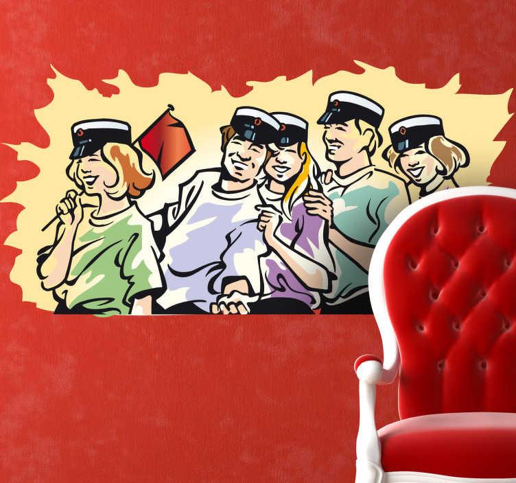 TenStickers. 学生笑卡通乙烯基墙贴. 排成一排的学生与队长帽子笑墙贴
