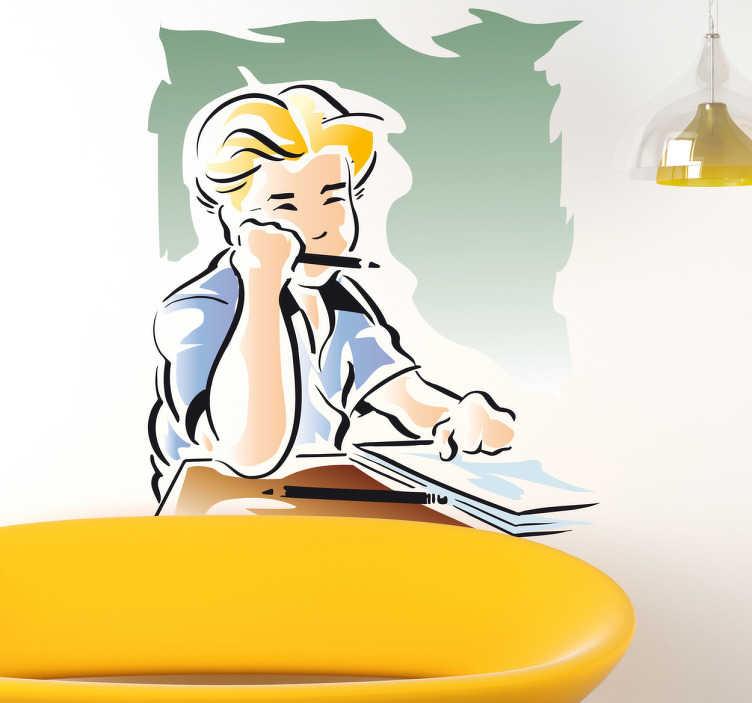 TenStickers. Naklejka nauka do egzaminu. Naklejka na ścianę przedstawiająca blond chłopca w trakcie przygotowywania się do egzaminu.