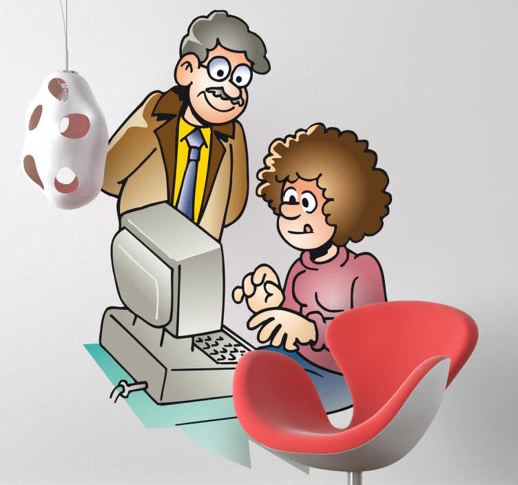 TenStickers. Office Computer Teacher Wall Sticker. Wall Stickers - Illustration of a teacher helping a student on the computer. Available in various sizes.