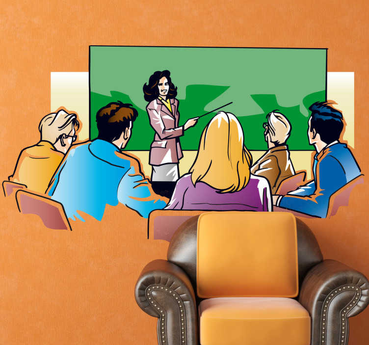 TenStickers. Sticker decorativo professoressa. Adesivo murale che raffigura un'insegnante che impartisce una lezione ai suoi studenti. Ideale per decorare le pareti di un'attività commerciale.