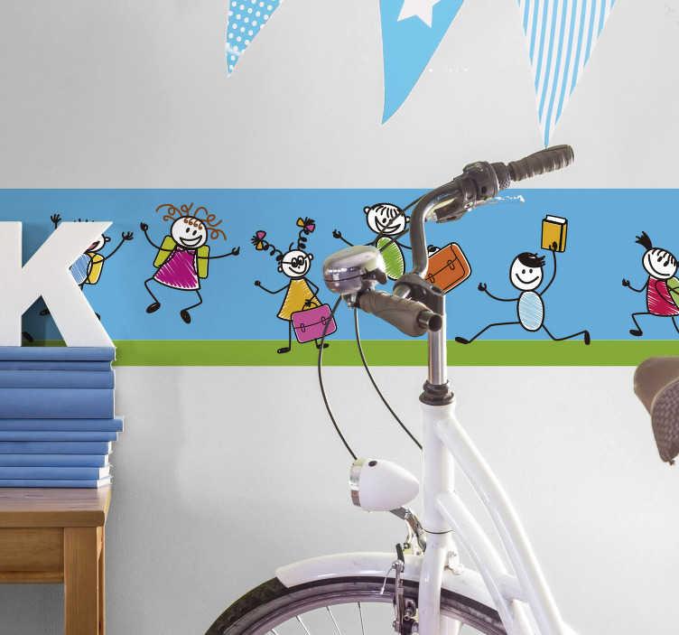TenStickers. Vinil decorativo regresso à escola. Adesivo de parede com ilustração de crianças em marcha feliz para a escola. Ideal para creches e/ou infantários, A.T.L e escolas primárias.