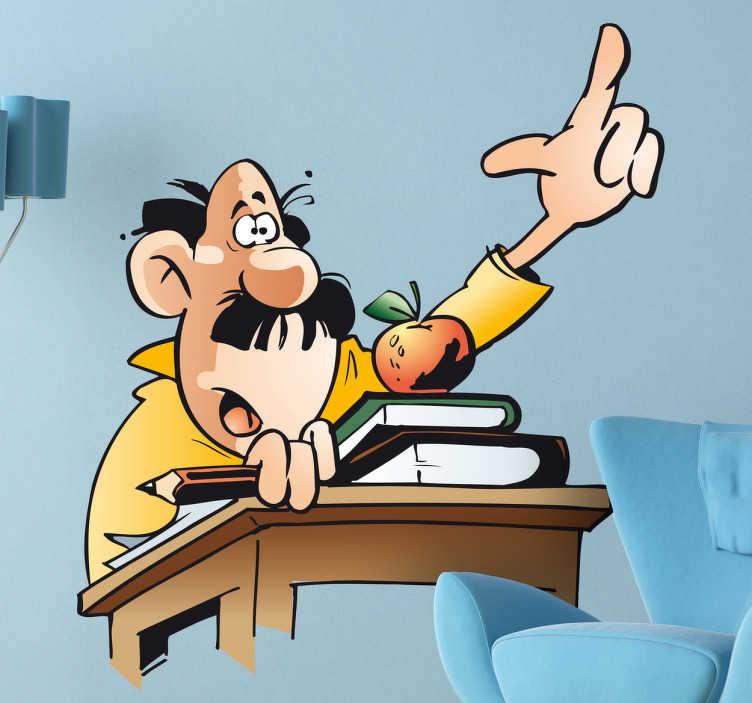 TenStickers. 滑稽的人卡通举起手来墙贴. 把手放在课本和书籍和水果的墙贴纸上的男人。
