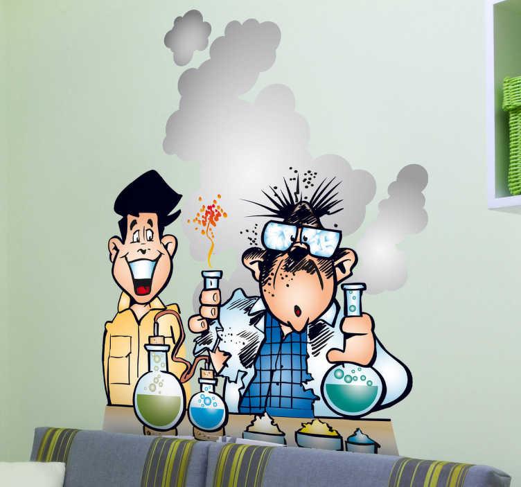 TenVinilo. Vinilo infantil explosión laboratorio. Profesor y alumno en una clase de química con ligeros contratiempos. Divertida pegatina para los pequeños estudiantes.