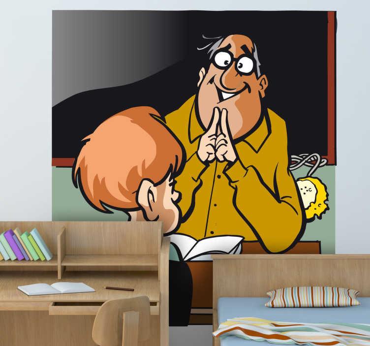 TenStickers. Naklejka dla dzieci nauczyciel. Ciekawa naklejka na ścianę przedstawiająca sympatycznego profesora w trakcie nauki Swoich studentów.